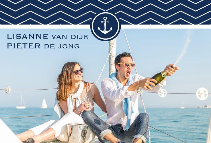 #strand #nautic #marine #sea #trouwkaart #trouwuitnodiging #trouwen #bruiloft #wedding #bruid #huwelijk #bruidspaar #beach #boot #zeilen