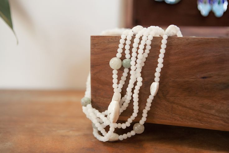 Pastel stone bead necklace, fair trade and hand-made in India.