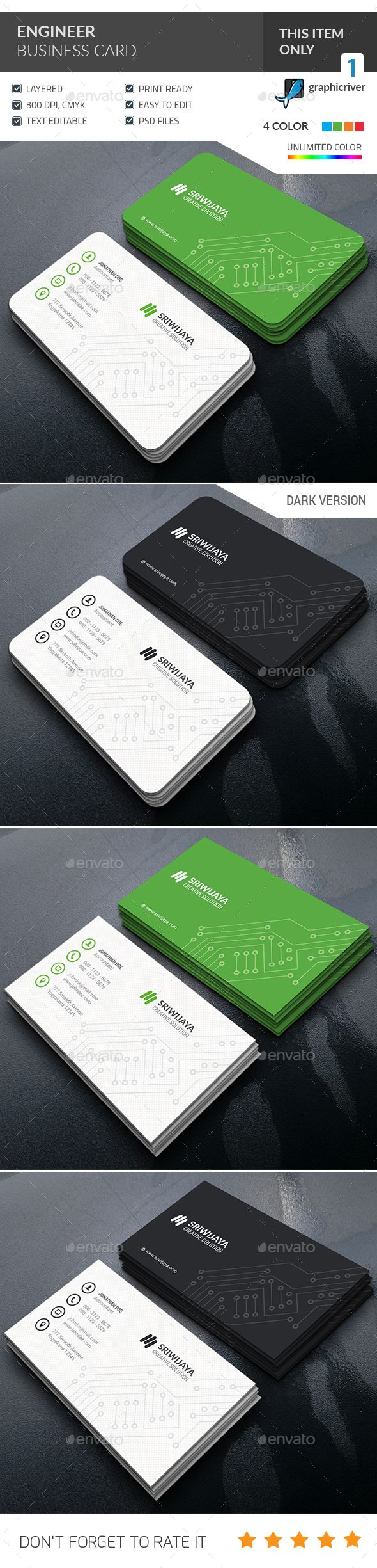 Engineer Business Card — Photoshop PSD #company #computer • Available here → https://graphicriver.net/item/engineer-business-card-/14237360?ref=pxcr