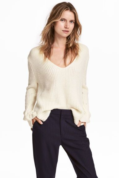 Sweter o splocie patentowym - Biały - ONA | H&M PL 1