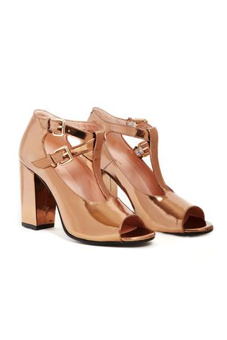 Carven Gold Clergerie Metallic Leather Mary Jane T-strap Pumps