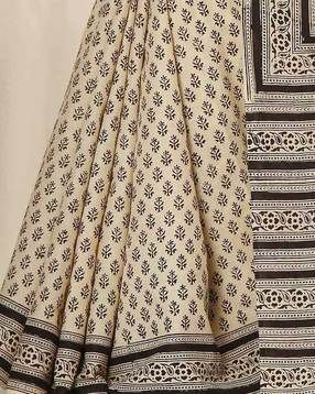Buy Beige & Blue Indie Picks Bagru Handblock Print Cotton Saree