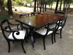 Beautiful Duncan Phyfe dinning table and 6 chairs on Etsy, $1,225.00