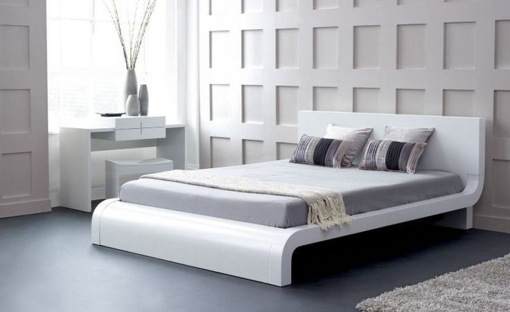 curved white bed design