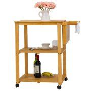 3-Tire Natural Wood Kitchen Utility Cart Work Island Portable w/Cutting Board