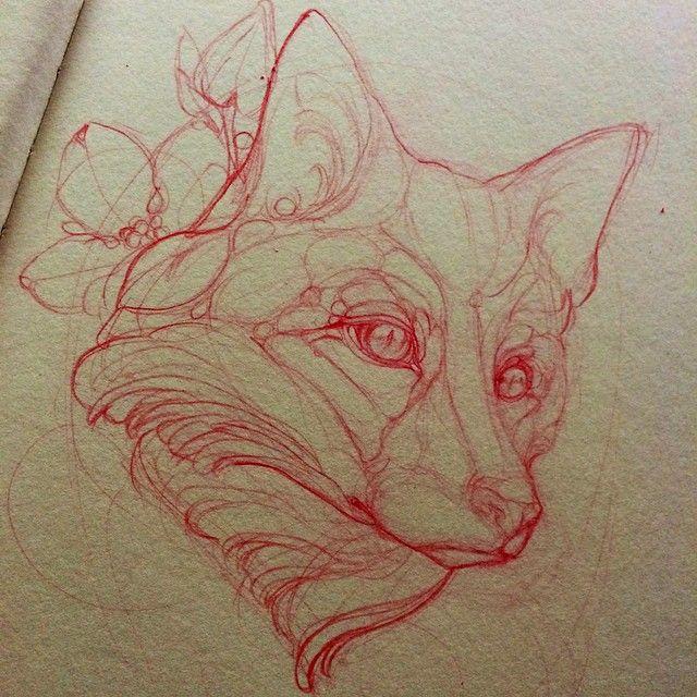 Sketching a red fox #tattoo #missjuliet #redfox #fox