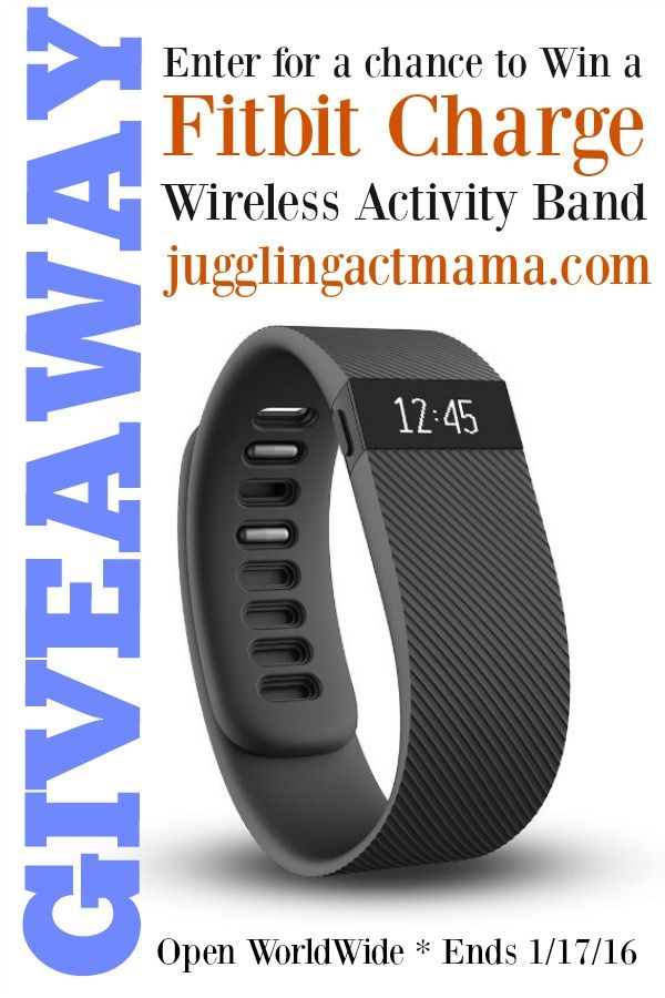 Fitbit Charge Giveaway - Enter at @juggingactmama - Ends 1-17-16