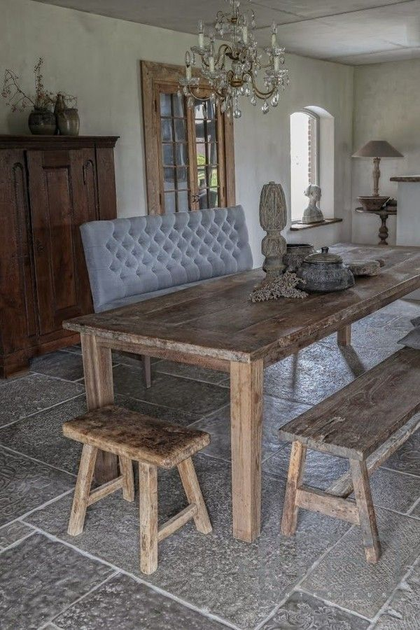 Rustic dining table BUT Also - those rustic looking french doors. PERFECT for what I'm trying to do in the cottage living room!