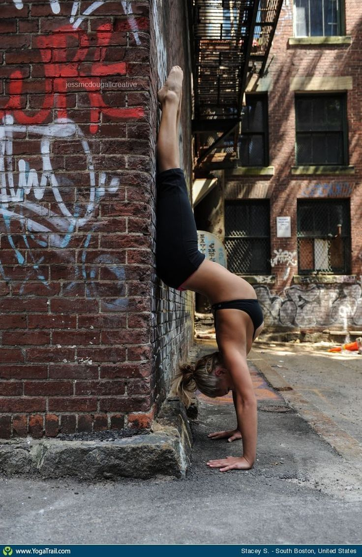 """Yoga Poses Around the World: """"Handstand in South Boston (USA), by Stacey S."""""""