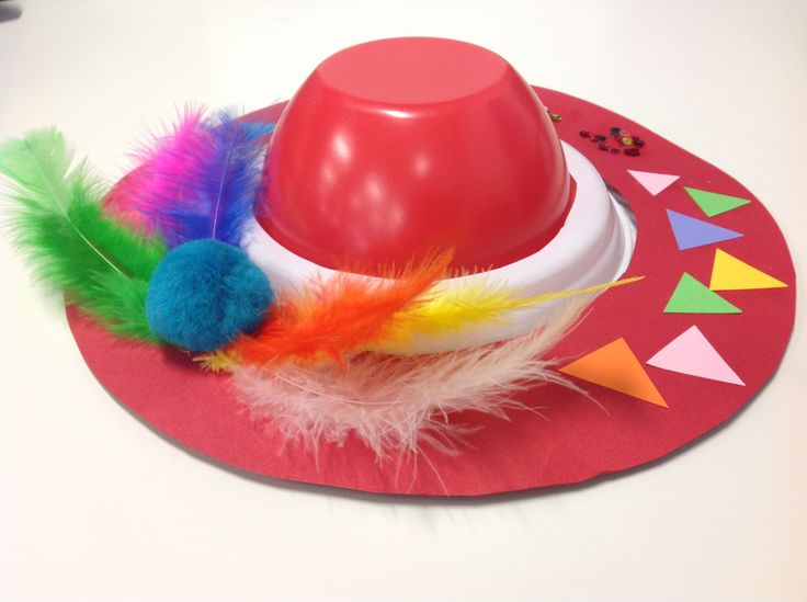 Hat-making with kids...very easy. Use a piece of cardboard cut into a donut, a plastic plate cut into a donut and a plastic bowl. Stick the edges together on the underside with sticky tape and decorate.