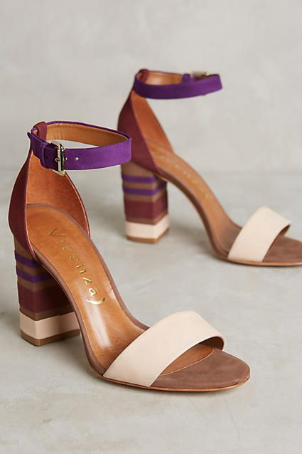 Love the color blocking on these ankle strap heels.