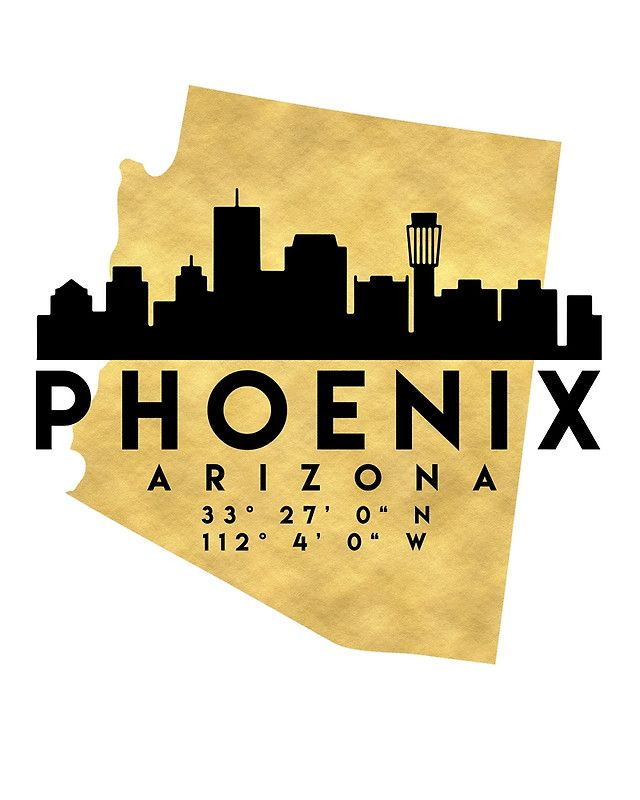 PHOENIX ARIZONA SILHOUETTE SKYLINE MAP ART -  The beautiful silhouette skyline of Phoenix and the great map of Arizona in gold, with the exact coordinates of Phoenix make up this amazing art piece. A great gift for anybody that has love for this city.  phoenix arizona downtown silhouette skyline map coordinates souvenir gold