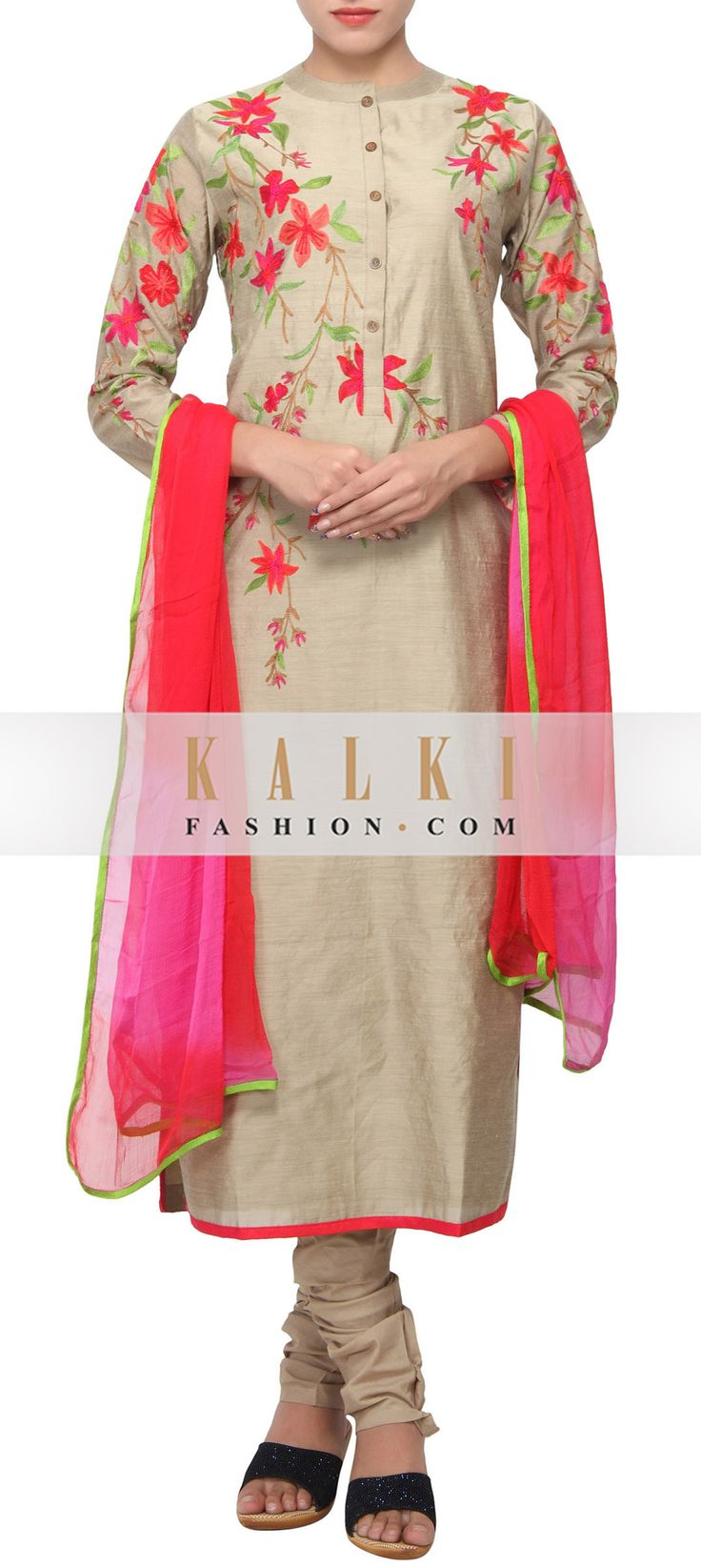 Buy Online from the link below. We ship worldwide (Free Shipping over US$100) http://www.kalkifashion.com/straight-fit-suit-in-beige-embellisehd-in-resham-embroidery-only-on-kalki.html