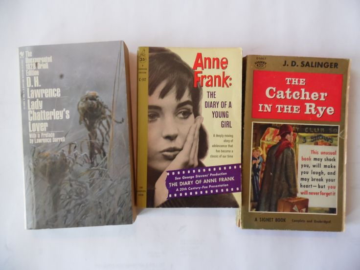 Vintage Classic Paperback Novels; The Catcher in the Rye, Lady Chatterley's Lover, Anne Frank: Diary of a Young Girl by theposterposter on Etsy