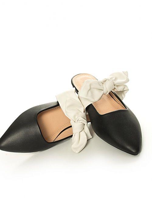 348c3ab543 Flat Mules με Φιόγκο-Μαύρο - ΓΥΝΑΙΚΕΙΑ ΠΑΠΟΥΤΣΙΑ - LUIGI FOOTWEAR ...