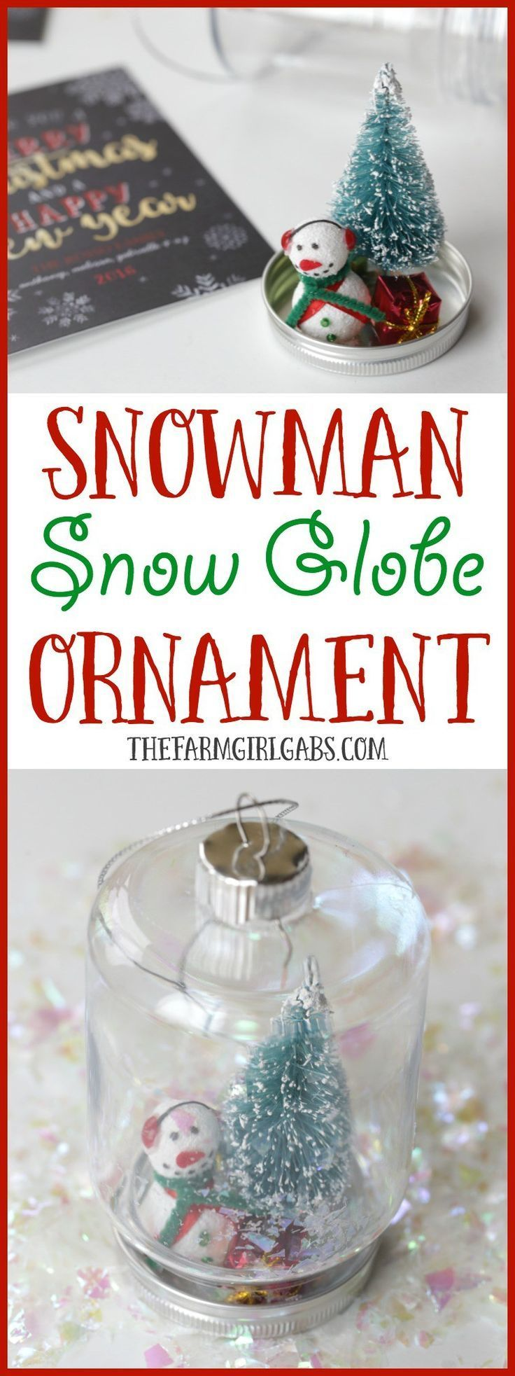 This DIY Snowman Snow Globe Ornament is an easy holiday craft to give along with your family Christmas card.