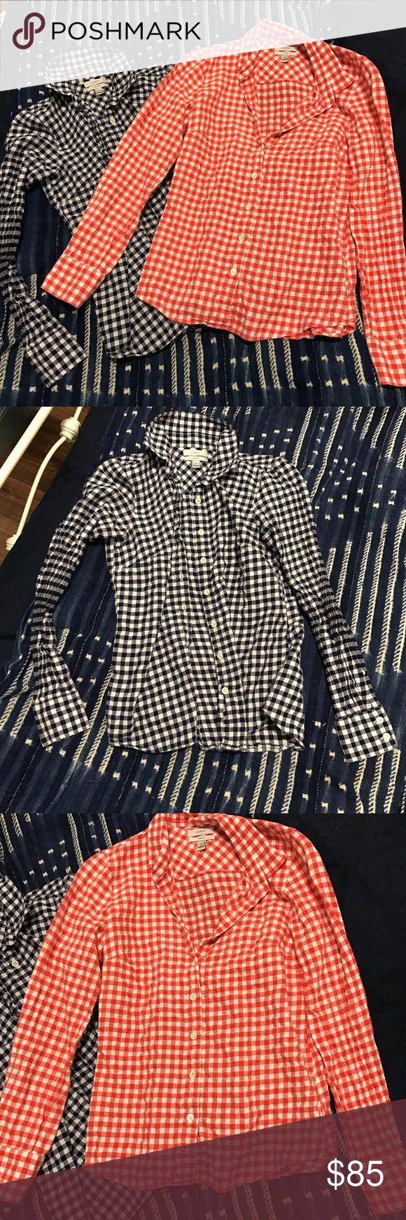 Gingham Shirt Bundle- JCrew Bundle of two gingham shirts from JCrew. One orange and white, and the other navy and white. Flannel material. Perfect shirt fit. Can be purchased separately, but bundled for a discount. Originally $89 each. J. Crew Tops Button Down Shirts