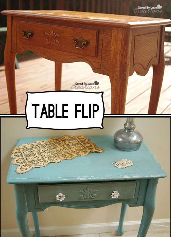 Table Flip @DecoArt_Inc Distressing with Chalk Paint @savedbyloves #chalkyfinish