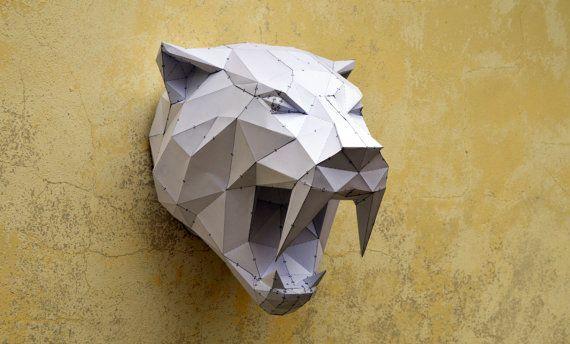 Hacer su propio tigre Sabertooh. | Animal de papercraft | Animal de papel | Tigre de papercraft | Gato salvaje | PlainPapyrus | Animal salvaje | Sabertooh