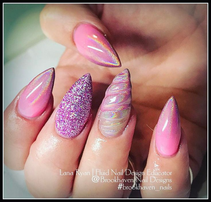 BrookHaven Nail Designs (@brookhaven_nails) • Instagram photos and videos    CHROME UNICORN HORN NAILS