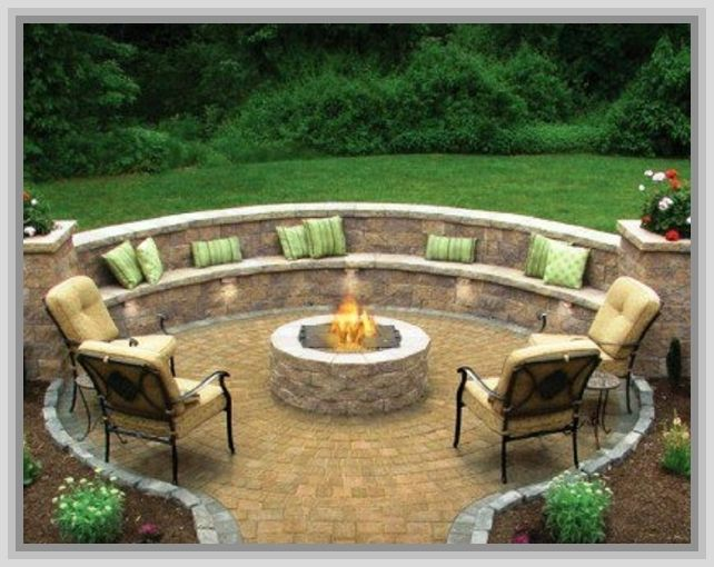 Outdoor patio ideas with firepit for the home pinterest for Garden patio ideas