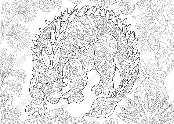 Adult Coloring Pages. Dinosaur Ankylosaurus. Zentangle Doodle Coloring Pages  For Adults. Digital Illustration. Instant Download Print