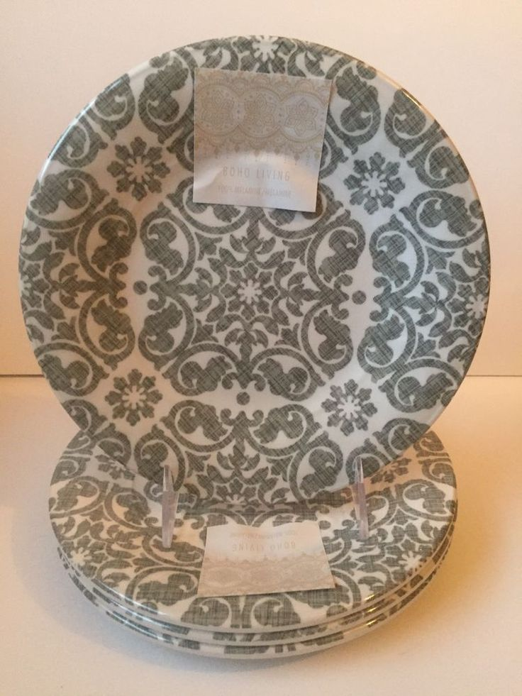 Tahari Grey White Medallion MELAMINE Side Plates Set Of 4  | eBay