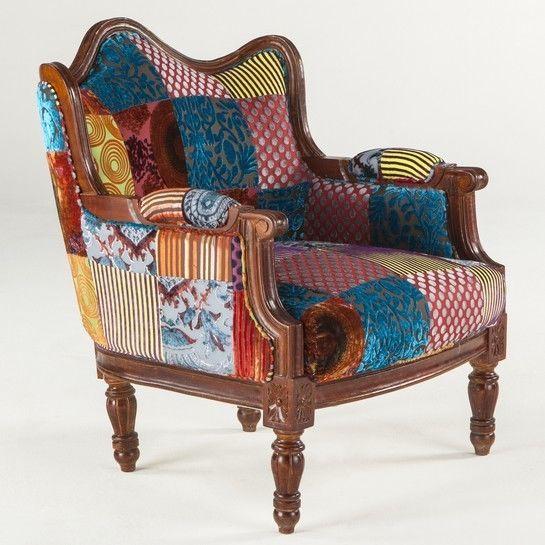 Burgess India Velvet Patchwork Arm Chair