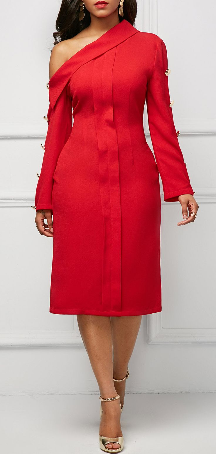 Button Embellished Long Sleeve Skew Neck Dress. #christmas#red#clothing#fashion#dress#outfits