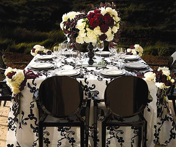 White and Black Ribbon Taffeta fabric with black Louis Ghost chairs.