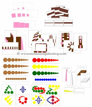 Printable Montessori Sensorial Extension Lessons; pink tower, broad stair, cylinder blocks, knobless cylinders. Printable Montessori materials for Montessori Learning at home and school.