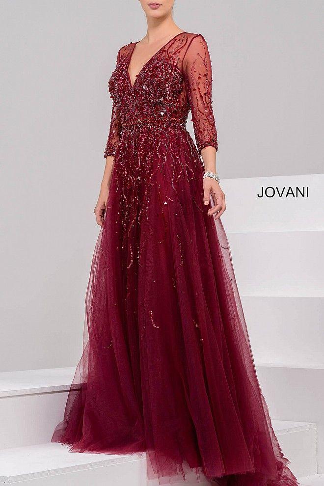 Blush Three Quarter Sleeve Evening Dress 29084
