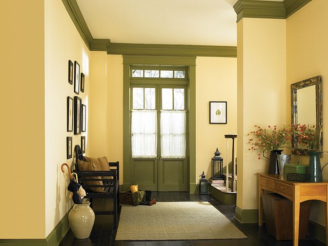 Country hallway yellow calm air bungalow decor and bungalow for Country home interior paint colors