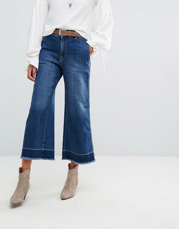 Get this Free People's bell-shaped jeans now! Click for more details. Worldwide shipping. Free People Vintage A Line Cropped Flared Jeans - Blue: Flare jeans by Free People, Firm-stretch denim, High-rise waist, Cropped leg, Regular fit - true to size, Machine wash, 78% Cotton, 18% Modal, 3% Polyester, 1% Elastane, Our model wears a UK 8/ W26� and is 178cm/5'10� tall. With roots back to the �70s, the Free People girl lives through art, fashion, music and wanderlust. She�s feminine in s...