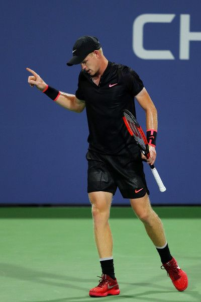 Kyle Edmund of Great Britain reacts against Steve Johnson of the United States during their second round Men's Singles match on Day Three of the 2017 US Open at the USTA Billie Jean King National Tennis Center on August 30, 2017 in the Flushing neighborhood of the Queens borough of New York City.