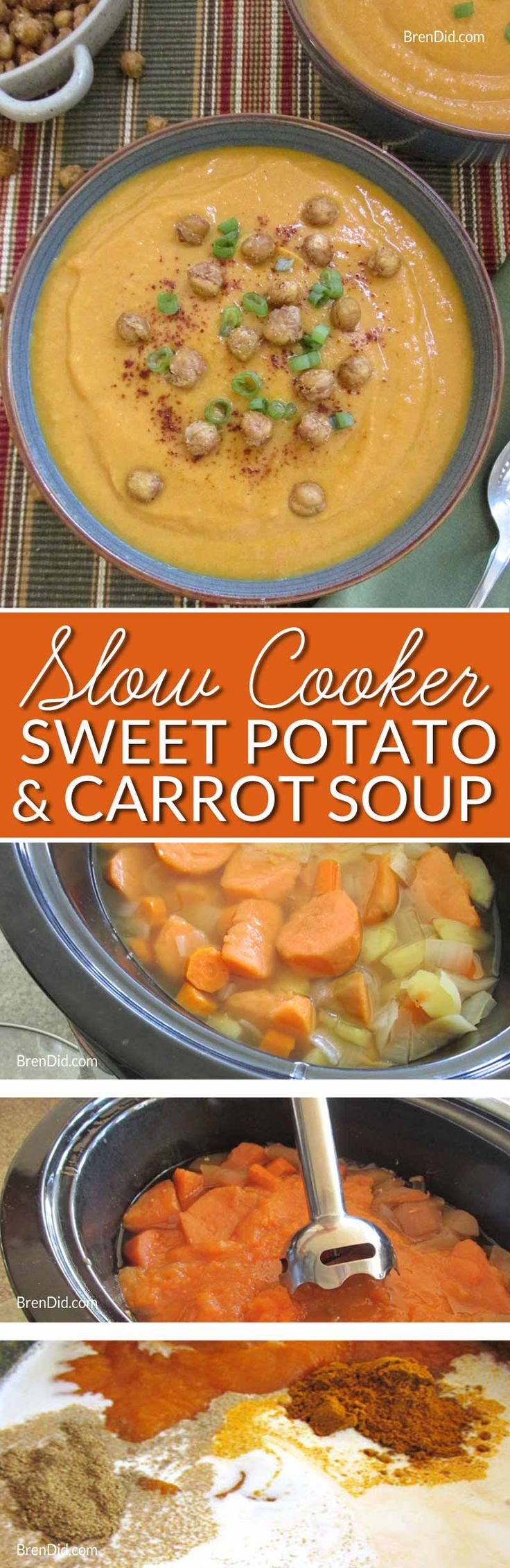 Creamy Sweet Potato and Carrot Soup Recipe – Easy crock pot recipe for creamy soup without any cream! Healthy comfort food topped with crispy garbanzo beans. Velvety smooth loaded with sweet potatoes, carrots, apples.