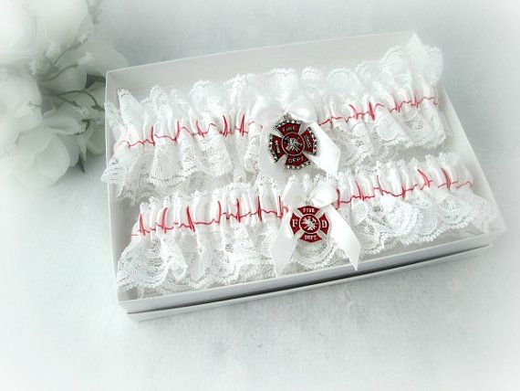 Firefighter Wedding garter set  Physician by CreativeGarters