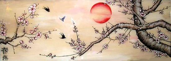 японская живопись,восточная живопись,птицы,цветы,весна,ласточки,солнце.