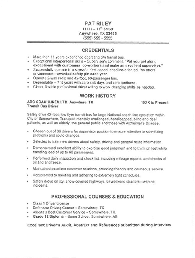 commercial driver    transportation resume sample