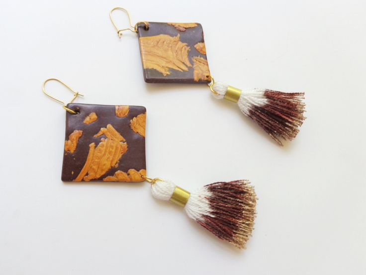 Geometric Fringe Earrings, Brown Gold Ombre Tassel Earrings, Dangle Earrings, Polymer Clay Statement Earrings, Christmas Gift For Sister by FairyDustHC on Etsy