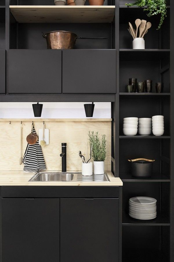 Kitchen black and plywood