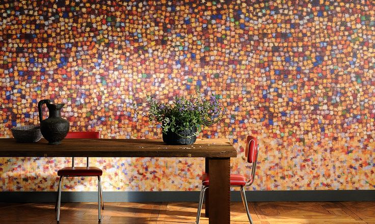 """Elitis A Big Splash is an oversized multicolored panoramic mural wall covering that teases the senses with wonderment and delight.  Sold by 4 panels of 27"""" width X 118"""" height roll"""