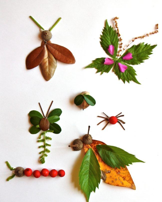 basteln mit kindern insekten diy blaetter raupe schmetterling spinne kaefer