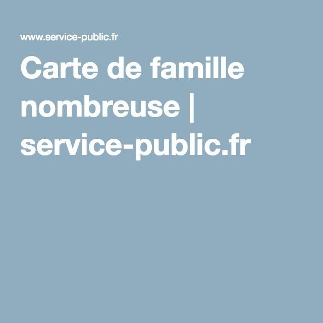 Carte de famille nombreuse | service-public.fr