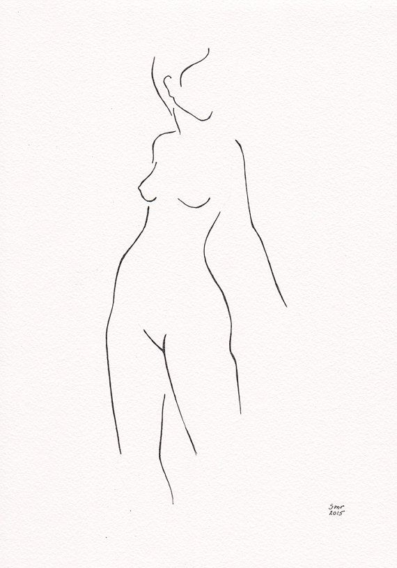 Original ink line drawing of female nude figure. The artwork is on A4 size…
