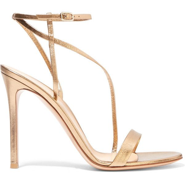 Gianvito Rossi Metallic leather sandals ($755) ❤ liked on Polyvore featuring shoes, sandals, heels, gold, strappy heel sandals, strappy sandals, heeled sandals, high heel sandals and buckle sandals