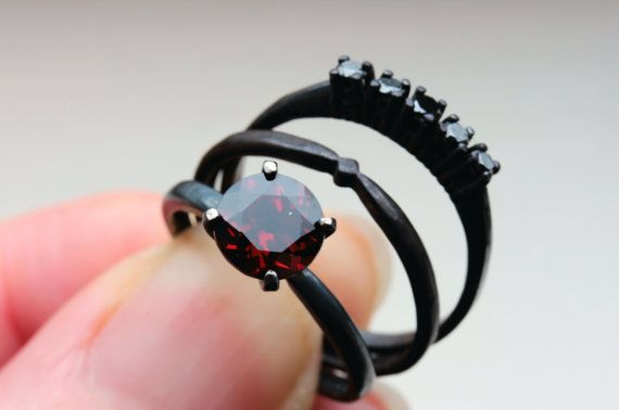 1.5 Plus CTW Garnet and Black Diamond Wedding by TheFlyingFoxArts