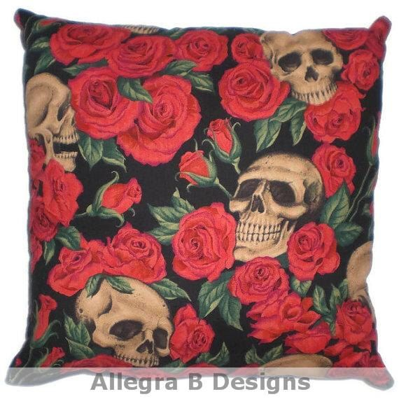 Gothic Skulls and Roses Decorative Throw Pillow Rockabilly Home Decor by AllegraB on Etsy https://www.etsy.com/listing/162619364/gothic-skulls-and-roses-decorative-throw