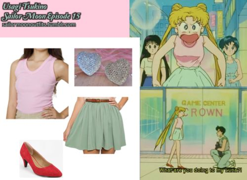 Like Sailor Moon Outfits on Facebook! American Apparel baby rib sleeveless v-neck in Pink American Apparel Pique full woven skirt in Mossy Green Im Your Present crystal heart stud earrings Kimchi Blue suede kitten heel in Red
