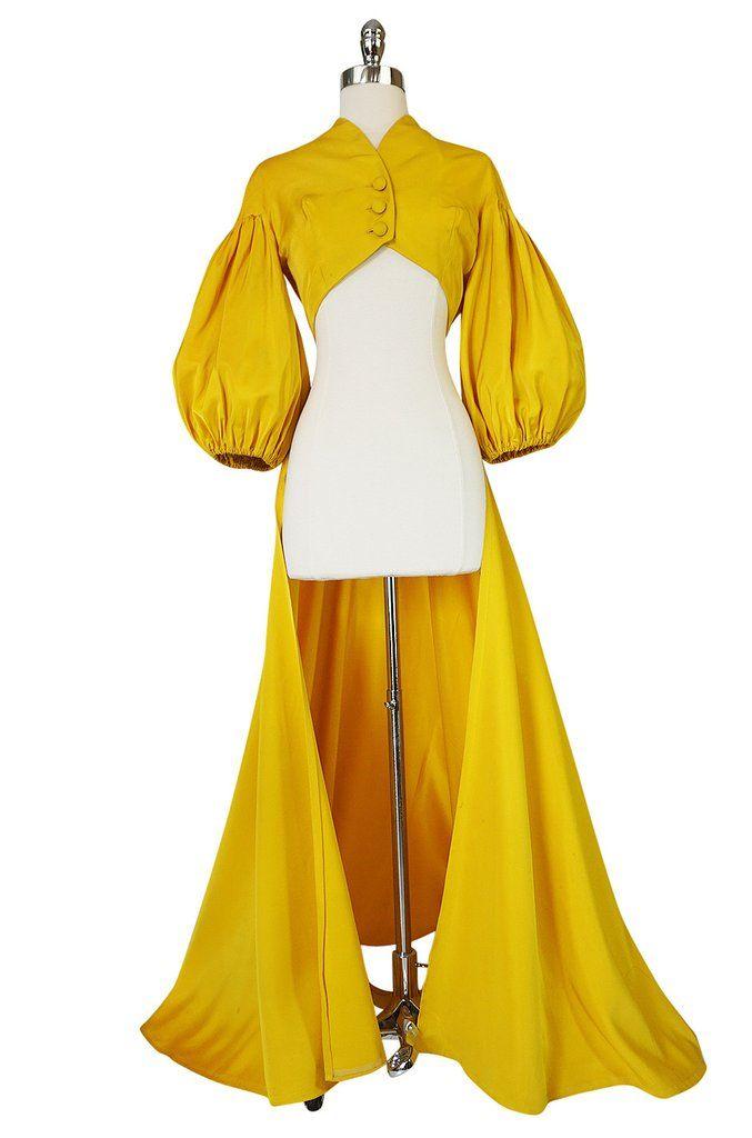 1940s Yellow Silk Satin Full Length Skirted Jacket